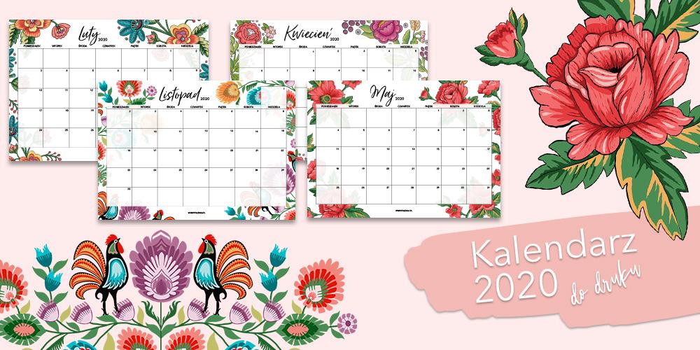 Kalendarz 2020 do druku - ludowe wzory
