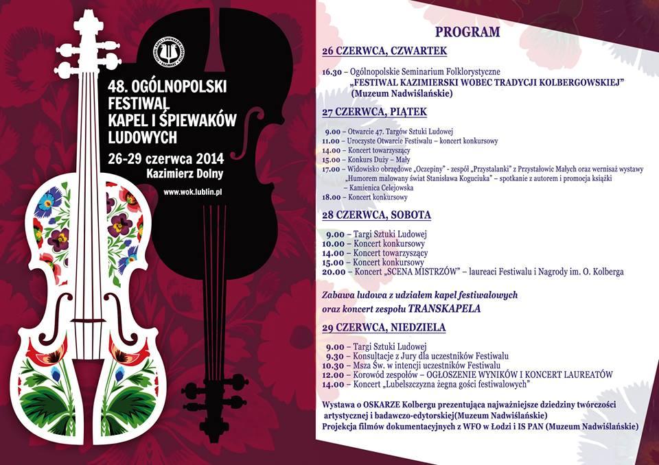 Festiwal Kapel i Śpiewaków Ludowych w Kazimierzu Dolnym - 2014 plakat
