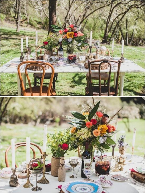 Ślub w stylu boho - dekoracja stołu ( www.weddingchicks.com)