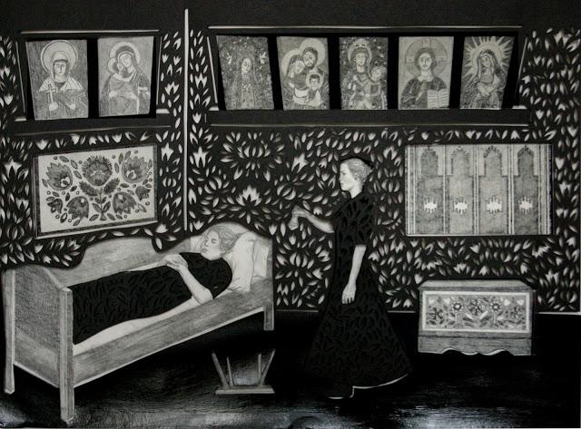 """""""Dzwoneczek loretański i przewrócone stołki"""" wycinanka 34x46cm ołówek,karton 2012"""