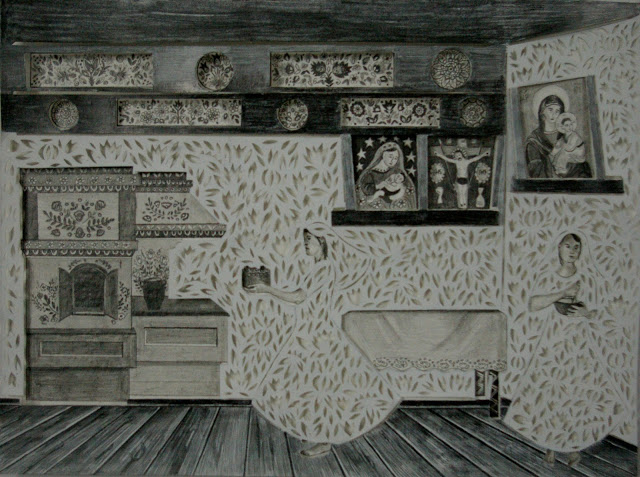 """""""Pieczenie Kołaczy"""" wycinanka 34x46cm ołówek,karton 2012"""