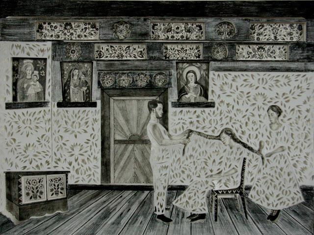 """""""Rozpleciny"""" wycinanka 34x46cm ołówek,karton 2012"""