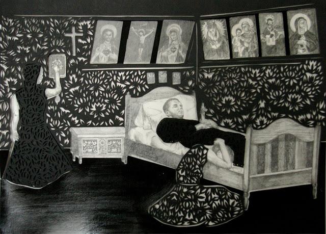 """""""Zatrzymywanie zegarów i gromnica w ręku"""" wycinanka 34x46cm ołówek,karton 2012"""
