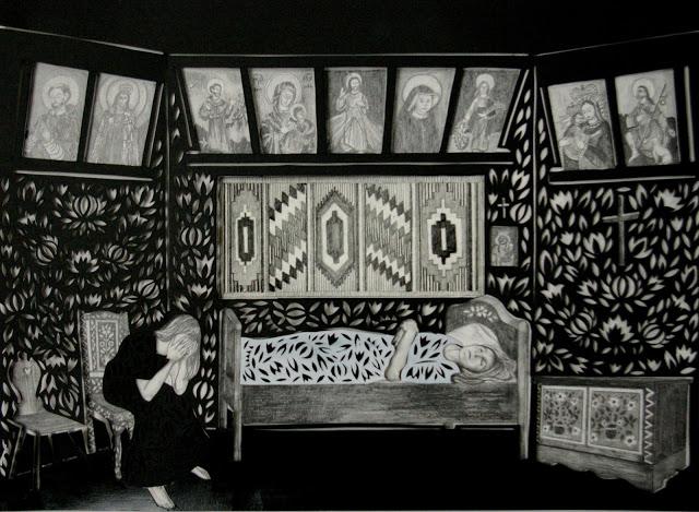 """""""Śmiertelnica"""" wycinanka 34x46cm ołówek,karton 2012"""