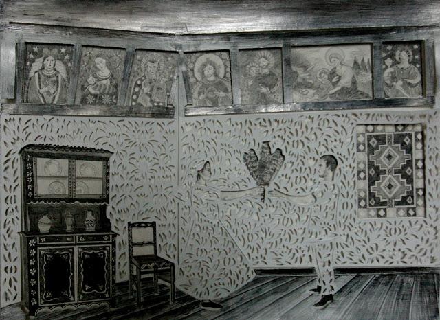 """""""Rózga weselna"""" wycinanka 34x46cm ołówek,karton 2012"""