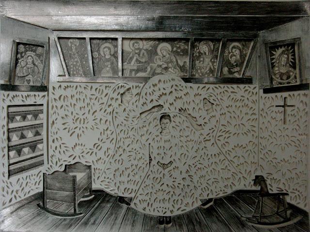 """""""Oczepiny"""" wycinanka 34x46cm ołówek,karton 2012"""