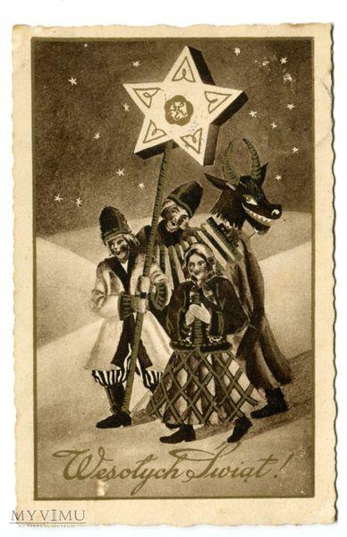 Kolędnicy z turoniem,  pocztówka z 1937 roku.  (http://commons.wikimedia.org/)