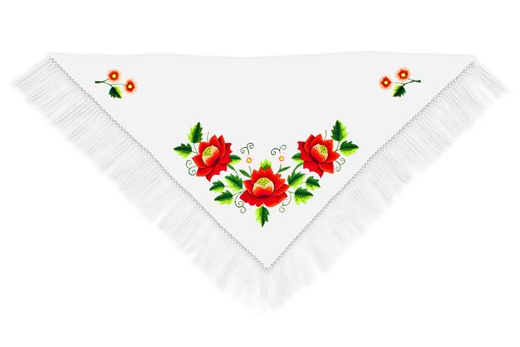 Ręcznie haftowana chusta, motyw ludowy (fot. folkstar.pl)