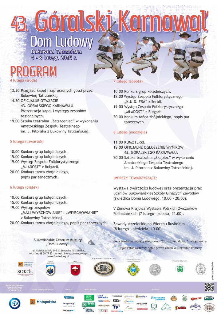 43. Góralski Karnawał w Bukowinie Tatrzańskiej 2015 - program