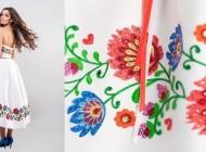 Krótka suknia ślubna zdobiona haftami inspirowanymi wycinanką łowicką