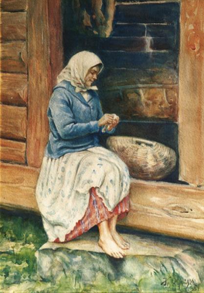 """Kazimierz Olpiński """"Wiejska kobieta na progu domu"""" 1931"""