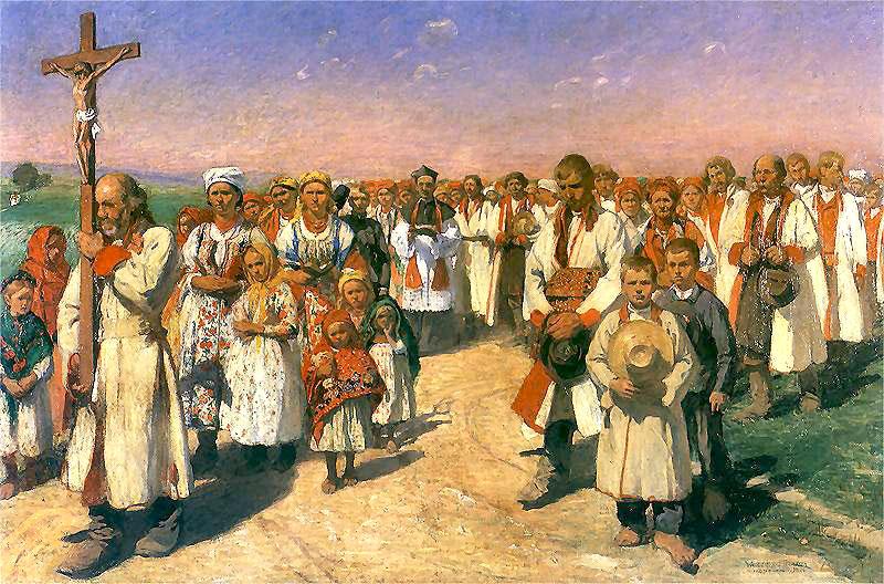 """Włodzimierz Tetmajer """"Procesja w Bronowicach"""", 1900 r."""