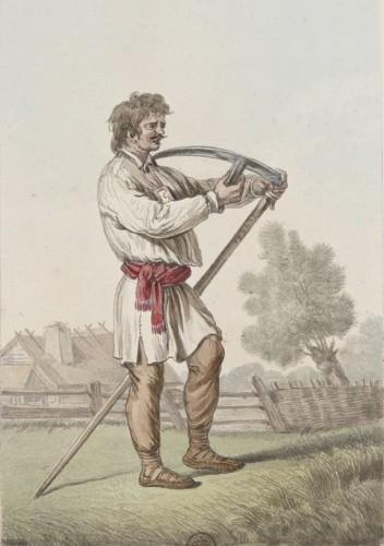 Kosiarz ostrzący kosę, rysunek Jana Norblina, XVIII wiek